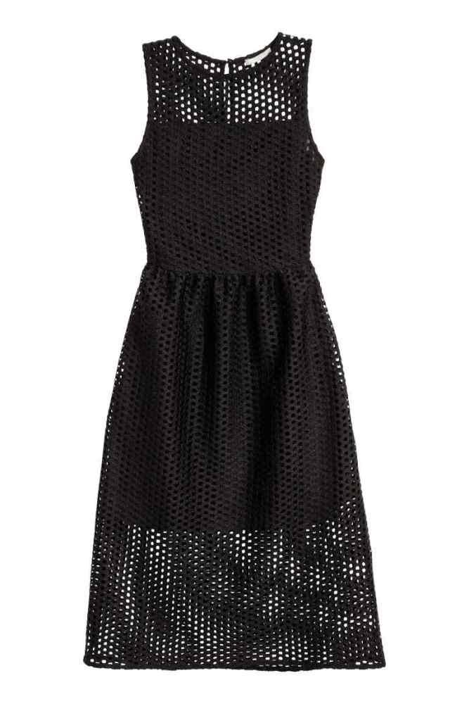 robe noire ajourée h&m