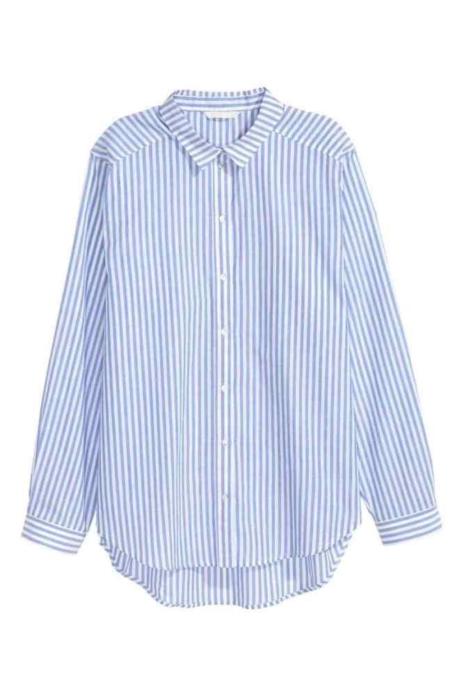 Chemise bleue rayée h&m