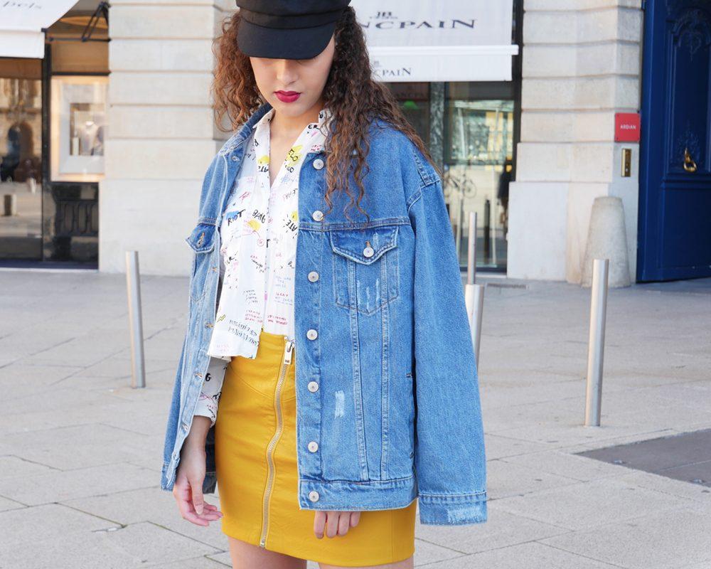 look-ado-veste-jean-jupe-cuir-casquette