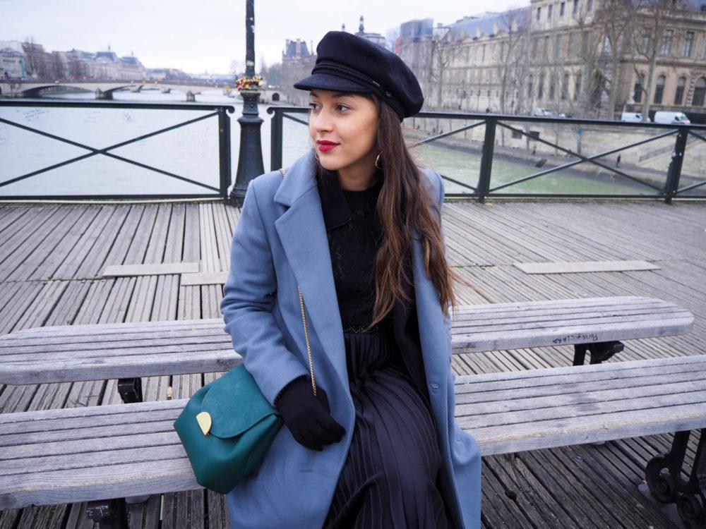 look-manteau-hiver-2020-paris-jupe-plissée