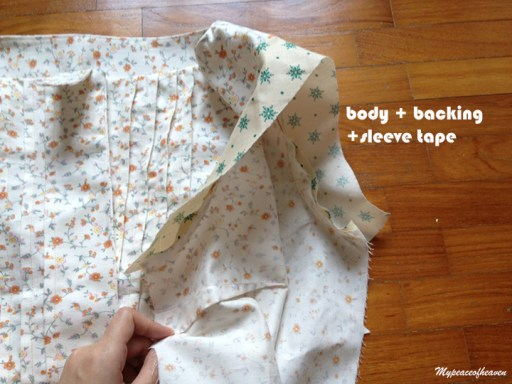 sewing on sleeve band on blouse