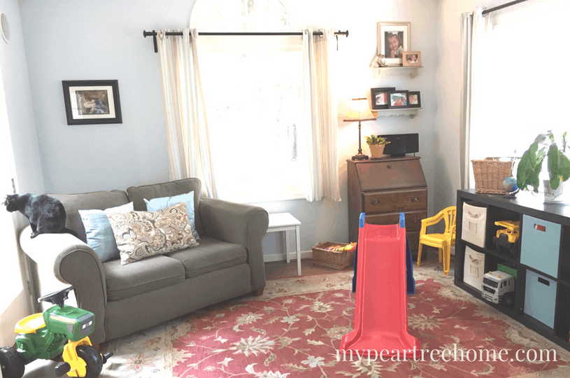 "Excited to show my playroom ""before pictures"" for the $100 Room Challenge. Click to see where I'm starting and what I hope to accomplish for $100."