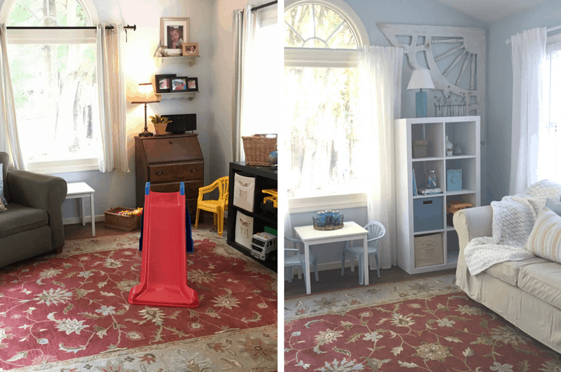 Want to make you playroom actually LOOK like the rest of your house on the cheap? Click to see the post!