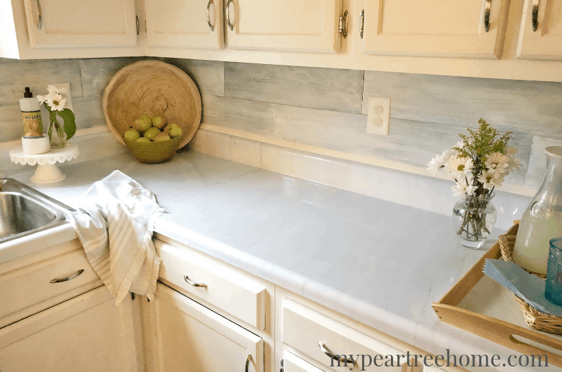 Faux marble counters using vinyl