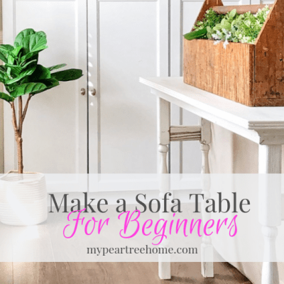 Want an easy, beginner-friendly project? Let me show you how to make your own console table or sofa table! Click to the post to see the easy tutorial!