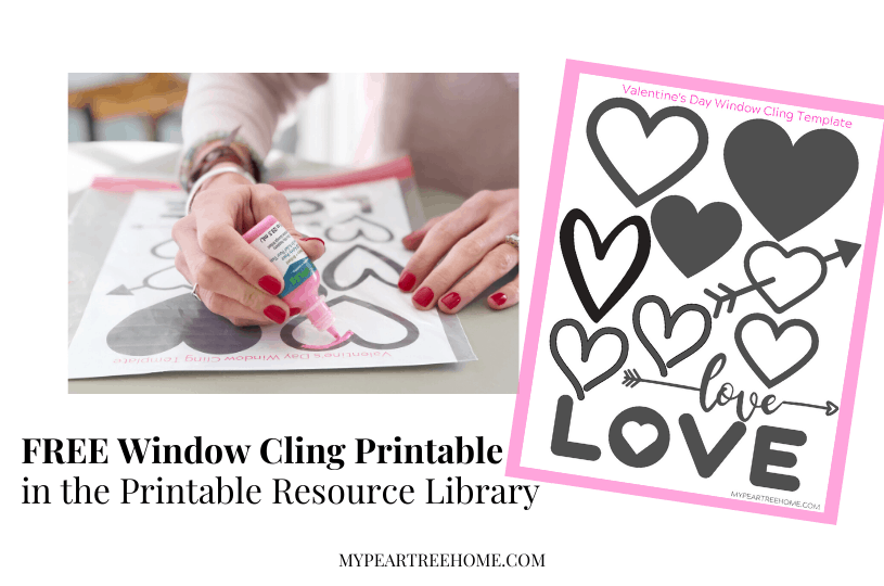 Want to learn how to make these easy window clings using puffy paint? See how simple it is and snag this free printable heart template page!
