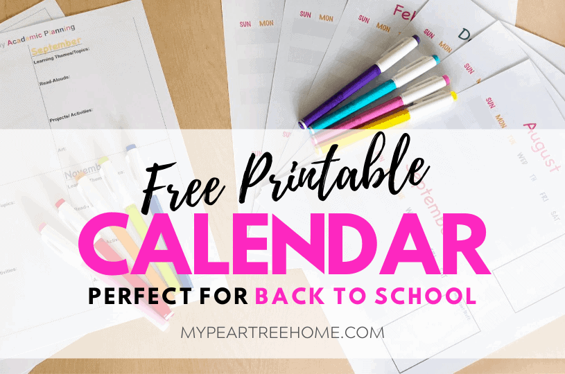 free printable academic planning calendar