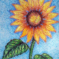 Pointillism sunflower