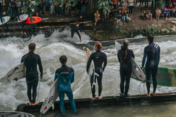 Surf Competitions at The Eisbachwelle in Munich, Germany