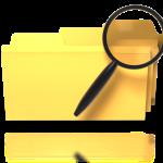 yellow folders w magnifying glass searching