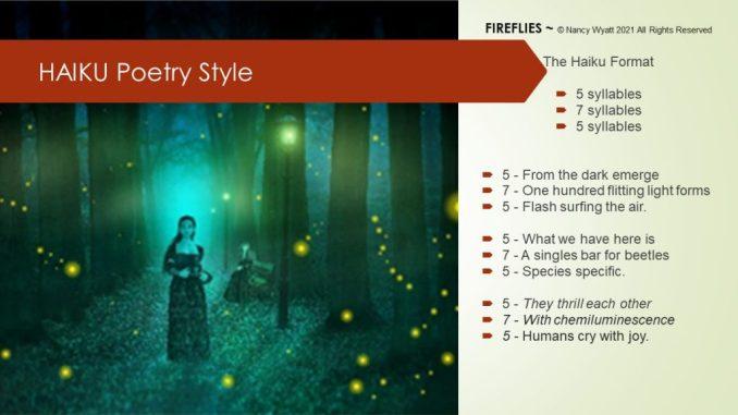 Fireflies - Haiku poetry demonstrating rules of 5/7/5 syllables
