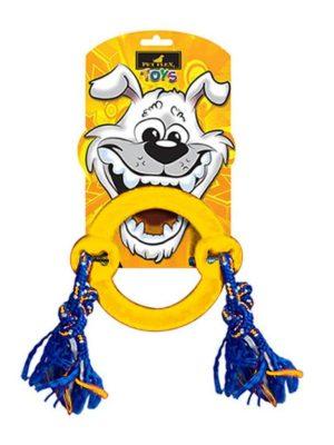 Argola com Corda para Cães Média Amarela Pet Flex