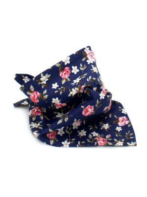 Bandana para Cachorro Azul Marinho e Rosa Estampa Floral