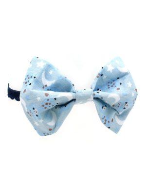 Gravata Borboleta Cães e Gatos com Elástico Azul Estampa Girafinha