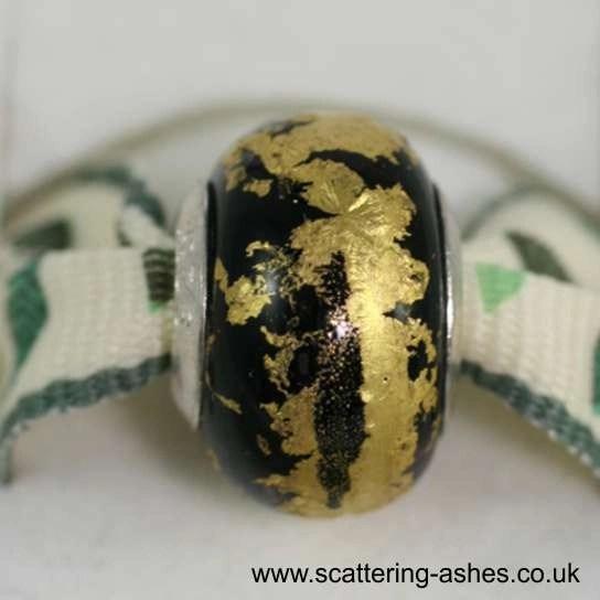 Pandora Ashes Charm Bead - Black Goldleaf