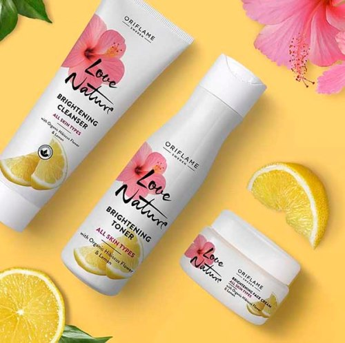 bộ dưỡng trắng da oriflame Love Nature Brightening Face Cream with Organic Hibiscus Flower & Lemon