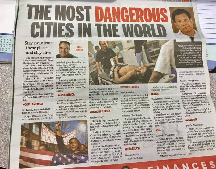 manila most dangerous cities in the world