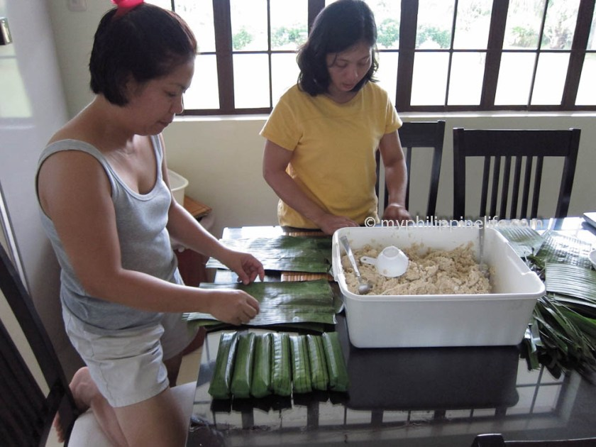 The mixture is wrapped in banana leaves