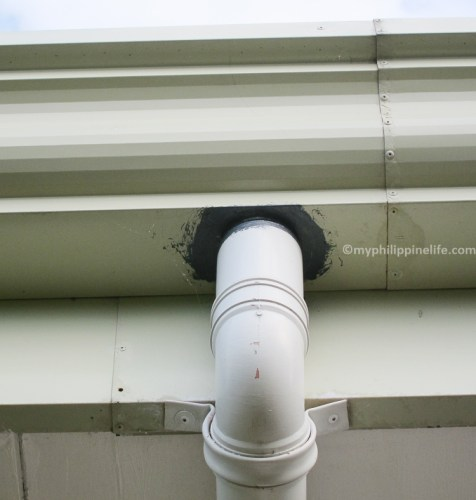 Gutter, downspout connection
