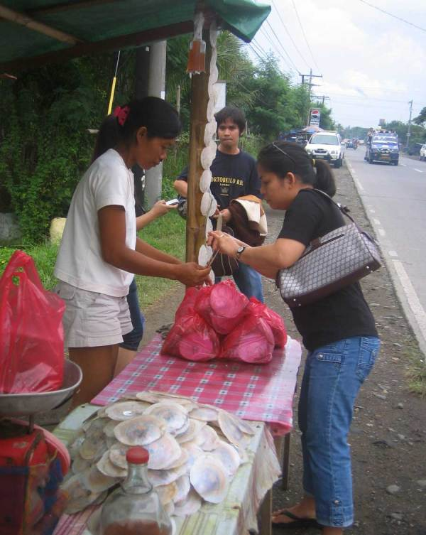 One of dozens of roadside stands selling Lamperong near Oton