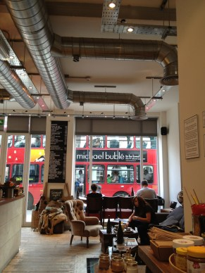 London bus through window
