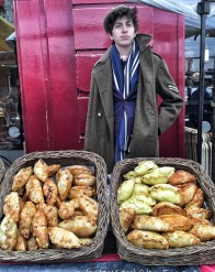 Red noses, warm pasties at Stroud Farmers Market - more about December food experiences on mycustardpie.com