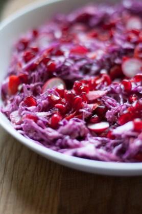 red cabbage and pomegranate salad recipe on mycustardpie.com