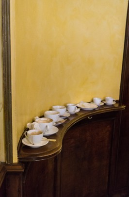 Coffee cups in the pasticcheria marchesi. How to have breakfast in Milan, Italy by My Custard Pie