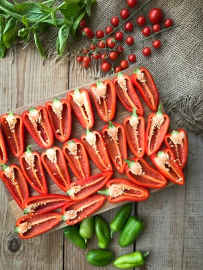 Roast caprese stuffed mini peppers