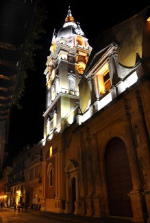 Night view of the Cathedral of Cartagena