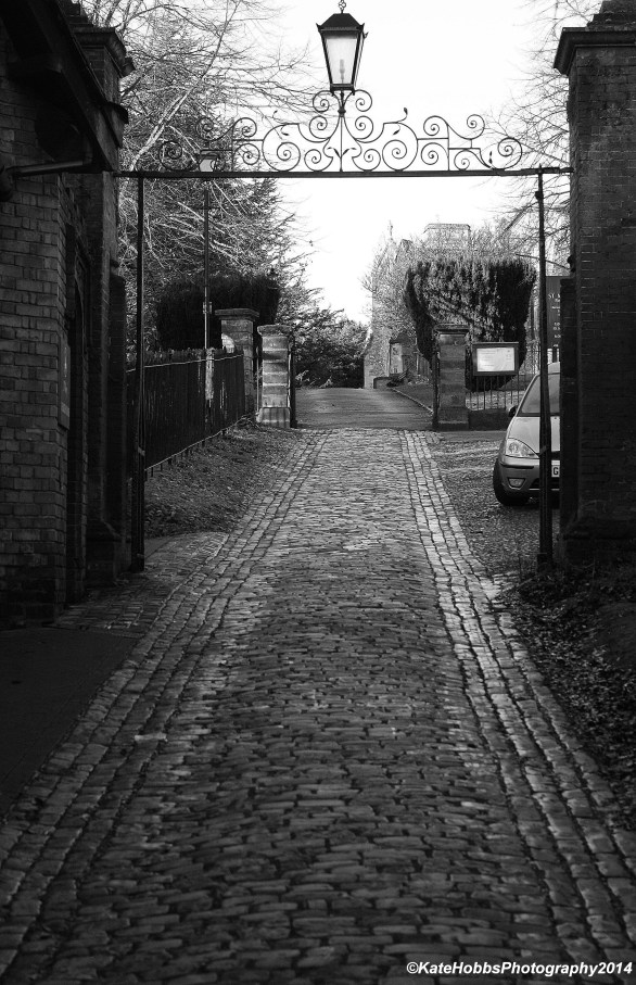 Cobbled Street towards St Marys monochrome