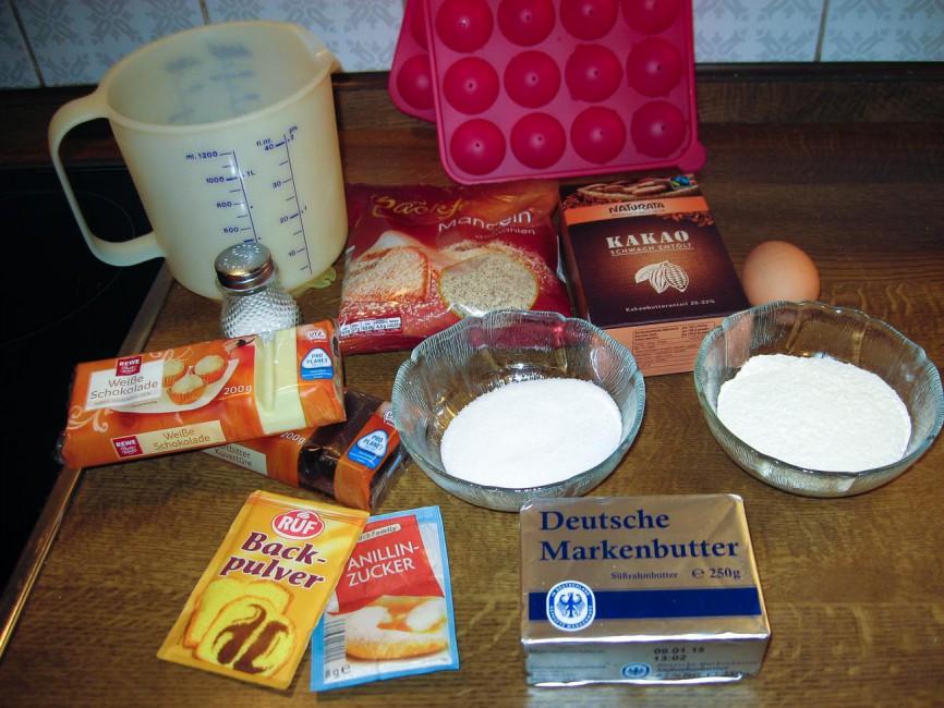Zutaten für Black and White Cake Pops