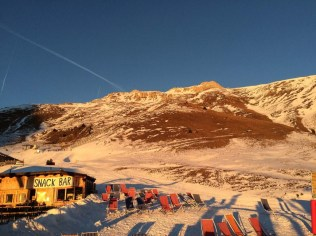 Sunset Latemar Skiing