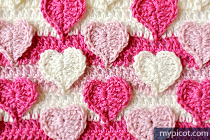 Free #Crochet Pattern - Multicolored Hearts