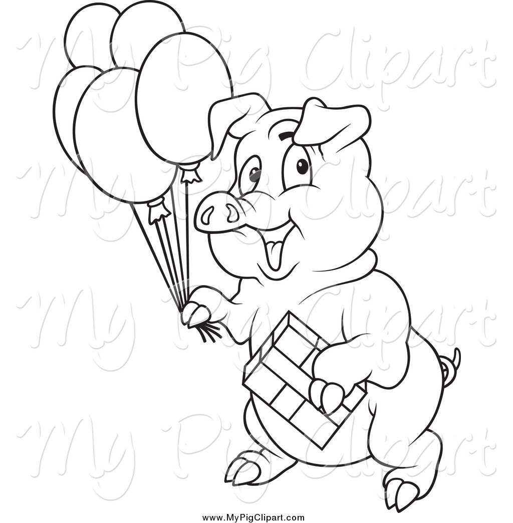 Swine Clipart Of A Black And White Birthday Party Pig By