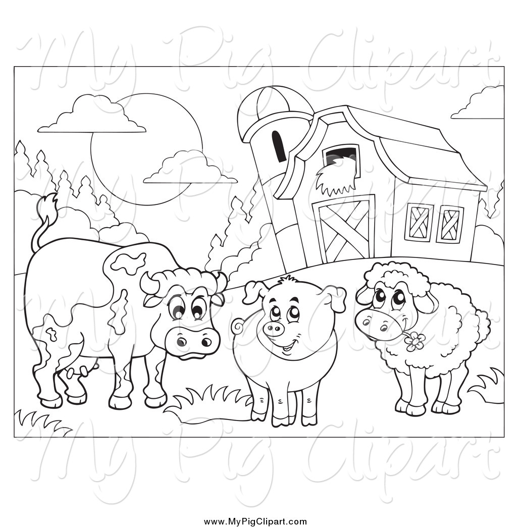 Swine Clipart Of A Black And White Cow Pig And Sheep By A