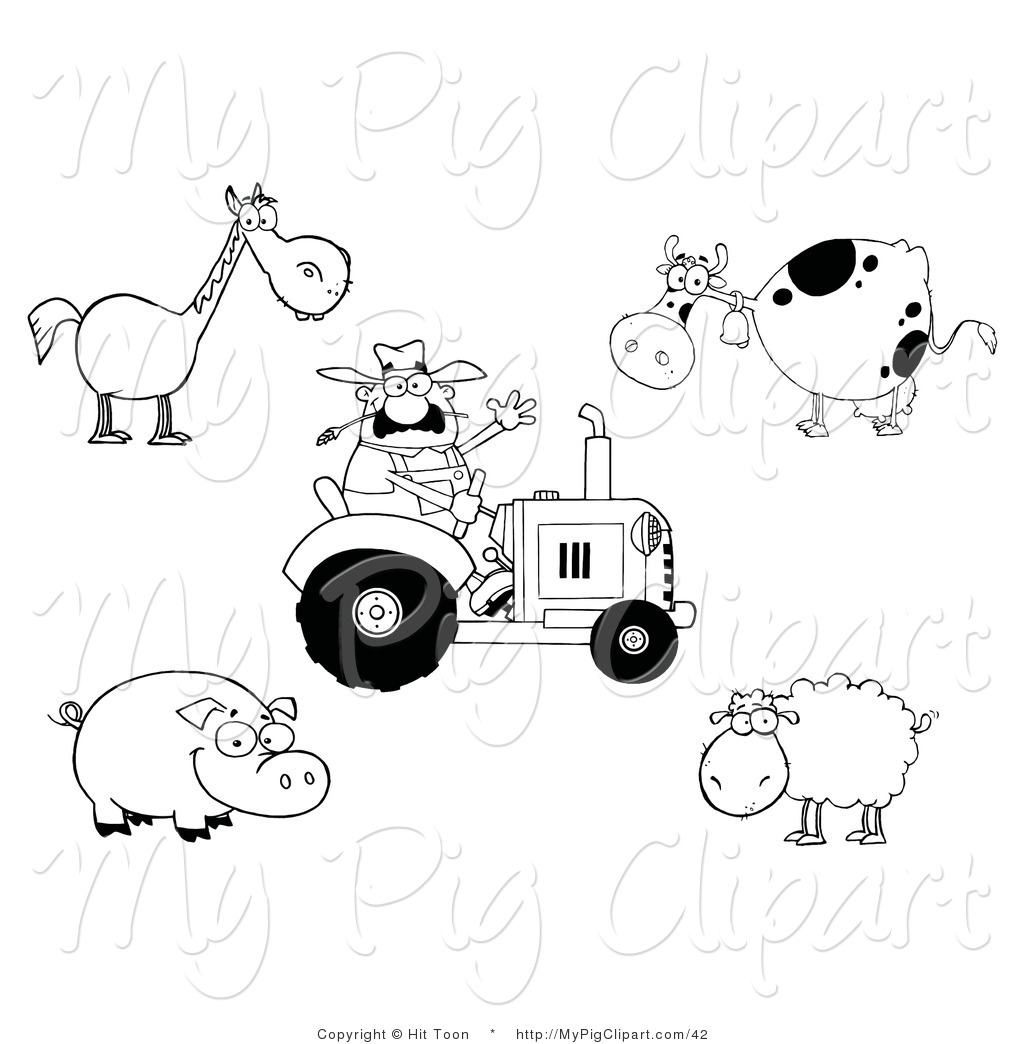 Swine Clipart Of A Farming Digital Collage Of An Outlined