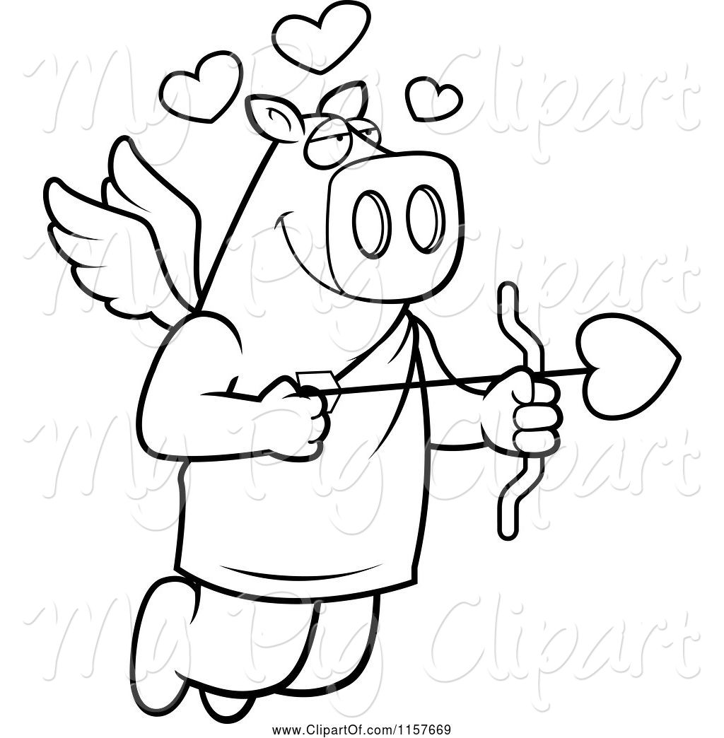 Swine Clipart Of Cartoon Black And White Flying Pig Cupid
