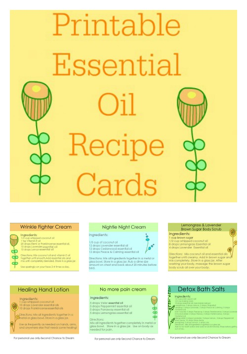 Printable Essential Oil Recipe Cards