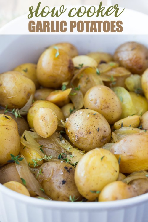 Slow cooker garlic potatoes