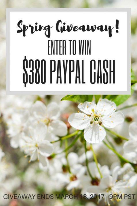 $380 Payapl Cash Spring Giveaway!
