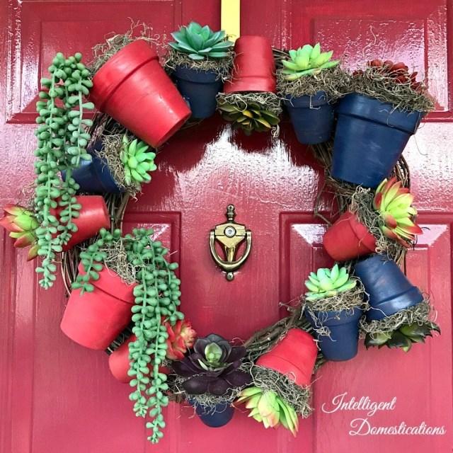 DIY Americana Clay Pot Wreath