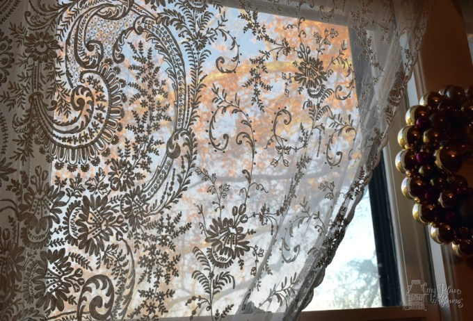 Antique handmade tambour lace curtains from Katohan, NY estate