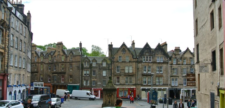 Grassmarket area in Edinburgh, Scotland.