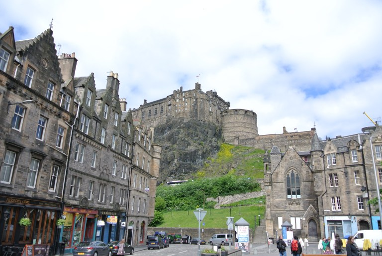 Edinburgh Castle and historic buildings in Edinburgh's Grassmarket area.