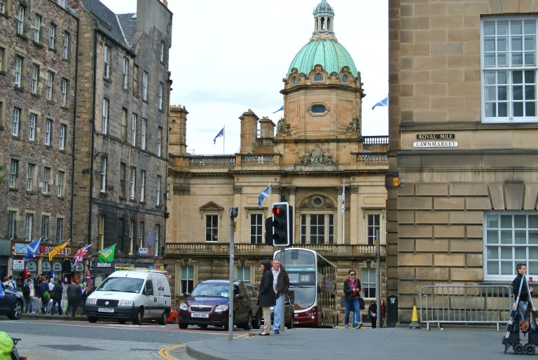 A city corner in Edinburgh, Scotland.