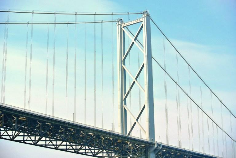 Closeup of the Forth Road Bridge.