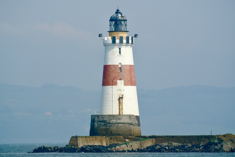 Red and white striped Oxcar Lighthouse.