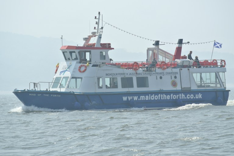 A tour boat in the Firth of Forth.