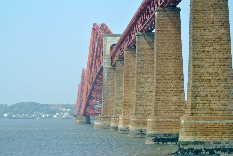 Giant columns of the red Forth Bridge.